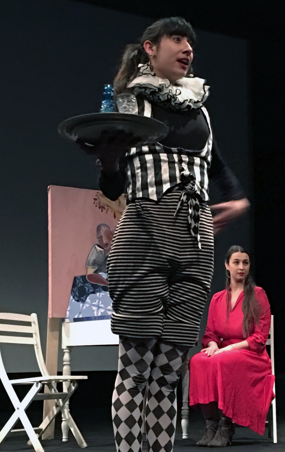 "Kyvêli Zoi and Elèni Michailidou during the performance ""The Strongest"" at the SVA Theatre, March 2017"