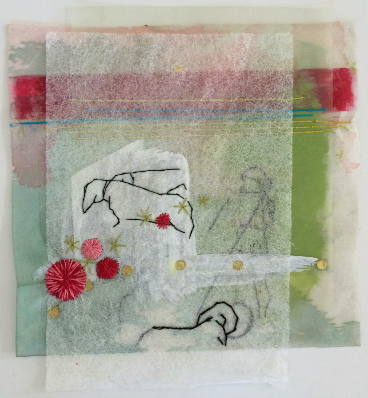 Mixed Media with Hand Embroidery on Interfacing, Dryer Sheet and Drafting Mylar
