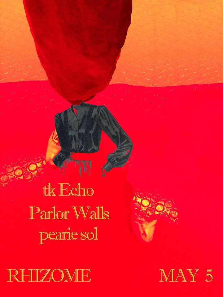"""Saturday May 5th        8PM       $10    Parlor Walls   EP EXO is a punch to the face. Imagine steam engines colliding on Mars where the air is thin but somehow inhabitable. Shedding their once post-punk-meets-free-jazz exoskeleton for a more refined art rock, EXO spins a claustrophobic mayhem into a sinewy four song salvo.  Alyse Lamb's guitars churn a thick anthem. Think Wire's playful guitar ache coupled with Siouxsie Sioux's understated angst. Drums and synths propel. Both delivered in tandem by Chris Mulligan, one limb cranks industrial riffs on a synth while the other catapults dancing beats. And it is that seamless balance between synths and drums that inevitably informs his sound, both equally unorthodox and always imperative.All this is underscored by new addition Jason Shelton's hazy clarinet and Eno-esque ambience. Tortured loops and sneaking vibrato oscillate the space into a smoky noir. With Lamb on lead vocals, her delivery is thick with defiance.But if you listen closely, encased in this tight warble a crack in the shell appears. Like the arthropod between skeletons, this crack exposes a vulnerability, often so heavily guarded. Take the bludgeoning """"Low Vulture"""" when she dares you to """"get out in front of it,"""" you don't know whether to run away or to share a tender moment together.    tk Echo   is a new D.C. band featuring Josh Blair (Orthrelm/Supersystem), Fiona Griffin (Et At It, Meltdown), Aaron Leitko (Protect-U) and Chris Richards (Q and Not U).    Pearie Sol's   songs """"scramble the boundaries between the confessional and the confrontational, inviting us to revisit the lines we've drawn between empathy and embarrassment. Stick it out for an entire set and your fidgeting might start to feel like a different kind of dancing."""" (via Washington Post)"""