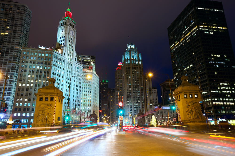 Wrigley Building Michigan Avenue at Night Bridge Cars and Traffic.jpg