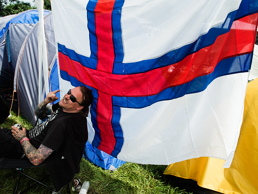 Wacken Metal Battle 2012:   Bealze Bub & the Faroese flag.   Photo: © Eija Mäkivuoti.