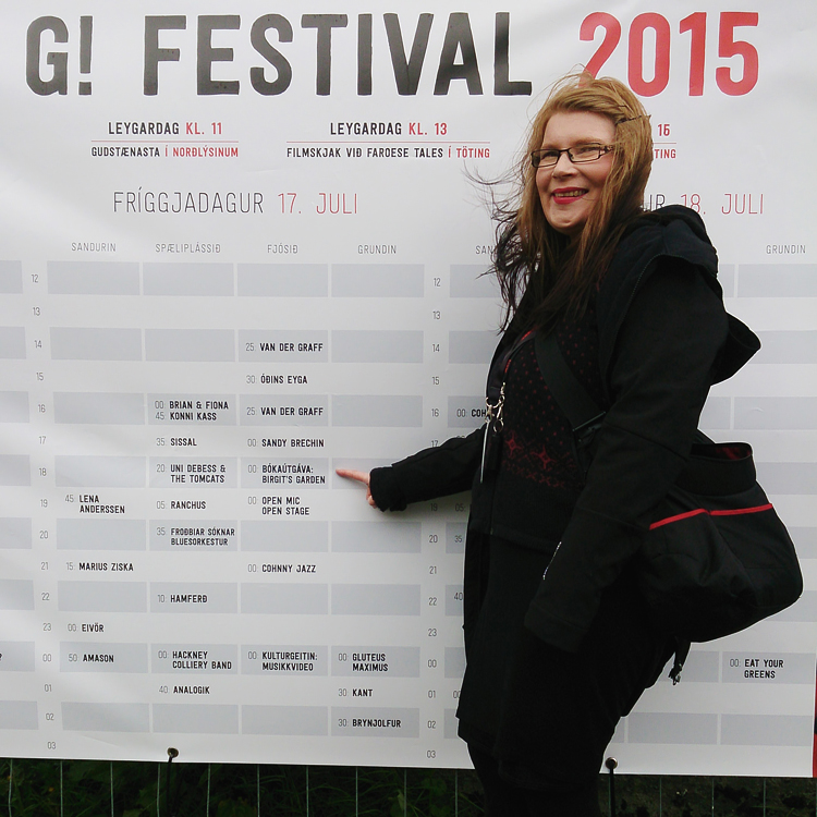 Eija at G!-festival, Faroe Islands in July 2015 publishing her photo book.