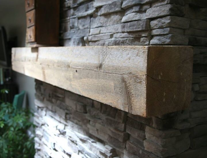 Rustic repurposed timber mantel wood