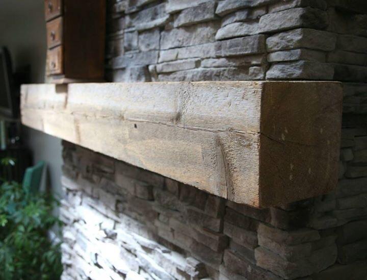 Rustic repurposed timber mantel wood