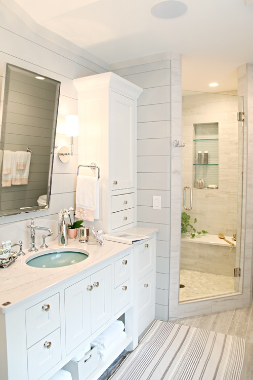 Chrome and Shiplap can result in coastal style that has a modern appeal   Photo credit: Houzz