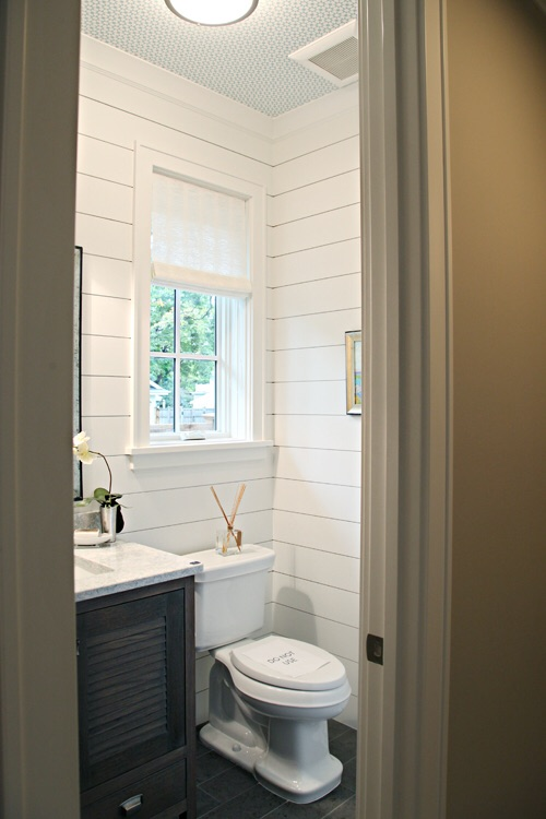 Small space application of painted shiplap is a great way to try out this home design trend. Photo credit: HOUZZ