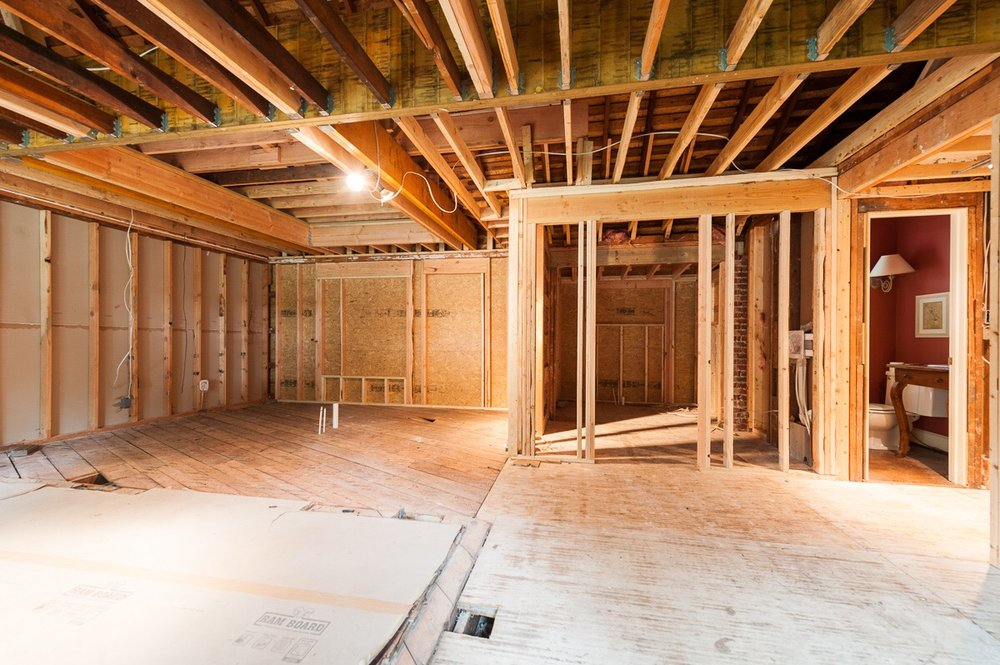 New framed out space reveals the feel of the space that is still to become a reality.