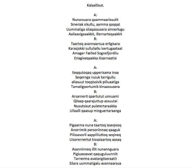 Grønlandsk oversættelse // oversat af Kimmernaq Kjeldsen