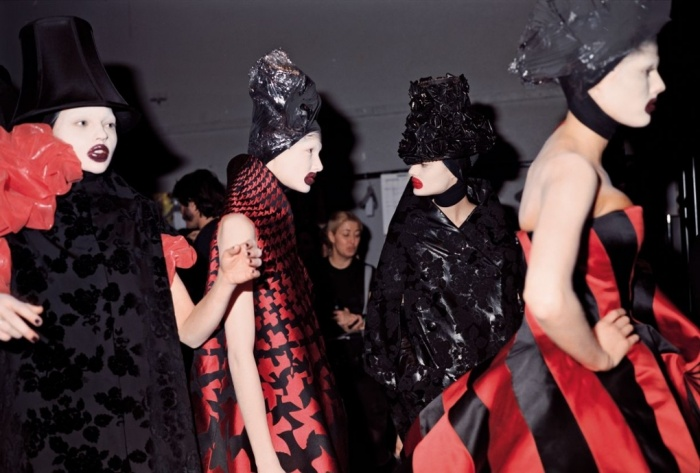 Backstage at Alexander McQueen's Horn of Plenty Show, FW 2009-2010 (Source:  The Guardian )