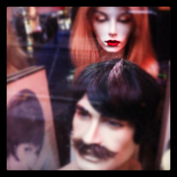 Red Ironically, Boston .#iphone4 #iphoneonly #iphonesia #instagram #boston #lips #mouth #mannequin #wigs #moustache (Taken with  Instagram  at Boston Opera House)