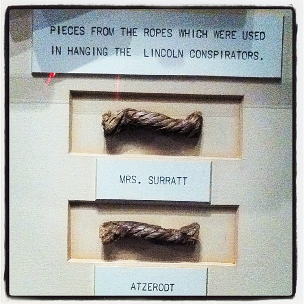 Pieces of Rope From Hanging of the Lincoln Assassination Conspirators, THTLDI, DC   (Taken with  Instagram  at The House Lincoln Died In)