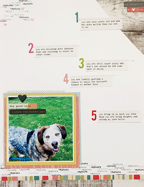 Bottom strips & Layering Papers: Gossamer Blue Main 2016 Kit & Life Pages • Stamps: Main 2016 Kit, April Life Pages & May Life Pages Kit • Puffies & Other Stckers: Life Pages Kit & Main Kit