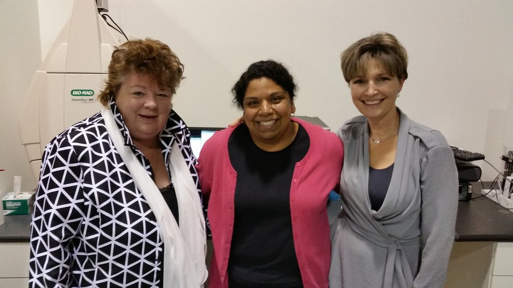 Pictured: The Hon. Linda Reid, Dr. Aarthi Jayanthan and Dr. Sandra Dunn at the PhoenixMD Labs in Richmond.