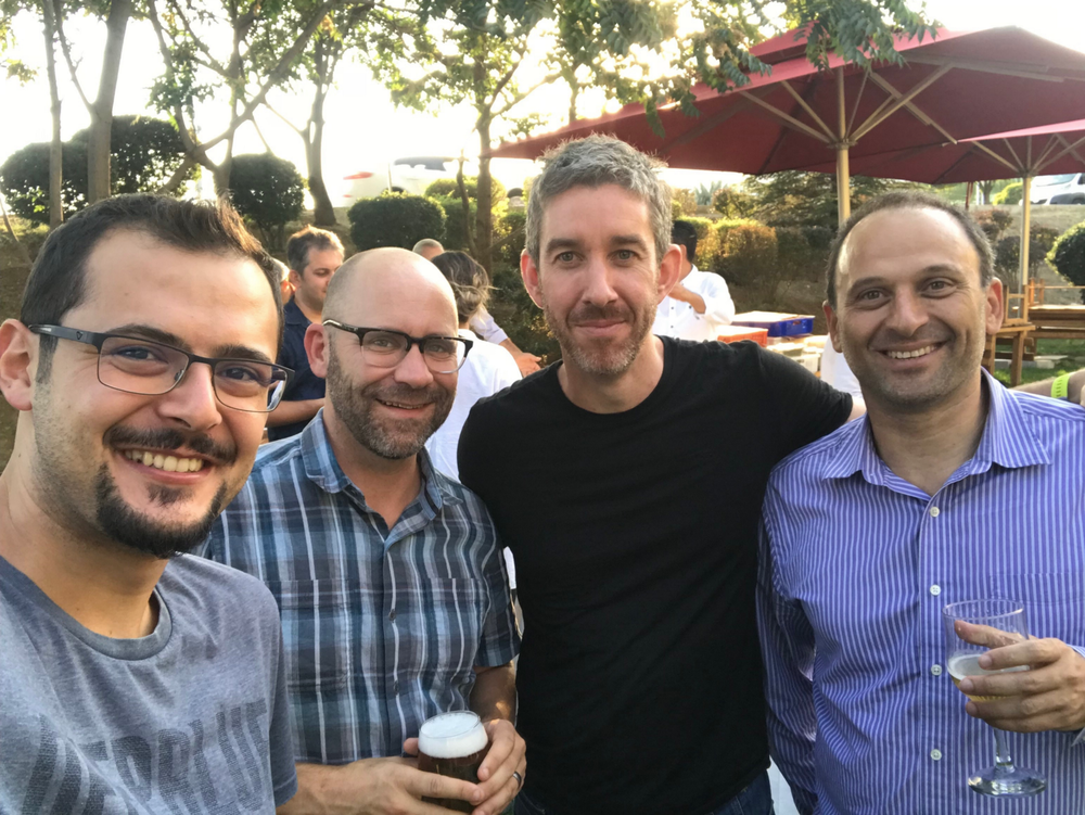 OpsGenie's CEO Berkay (first from right) and Atlassian's Co-CEO Scott (second from right) in Ankara!  Serhat'in https://medium.com/@serhatcan/orange-to-blue-opsgenie-is-agreed-to-be-acquired-by-atlassian-d4f73084f140 yazisindan alinmistir.