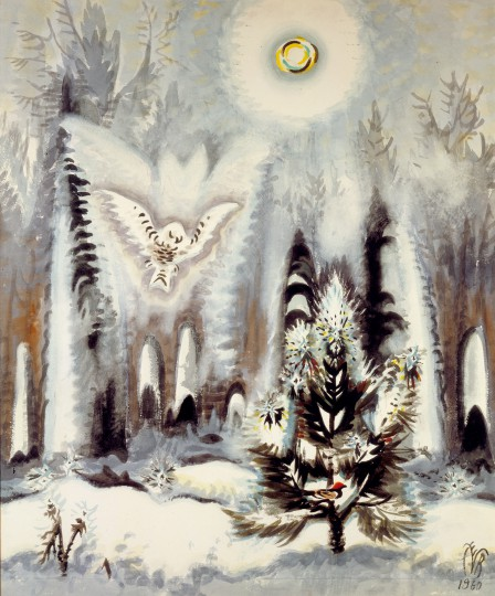 Charles E. Burchfield, Arctic Owl and Winter Moon, 1960