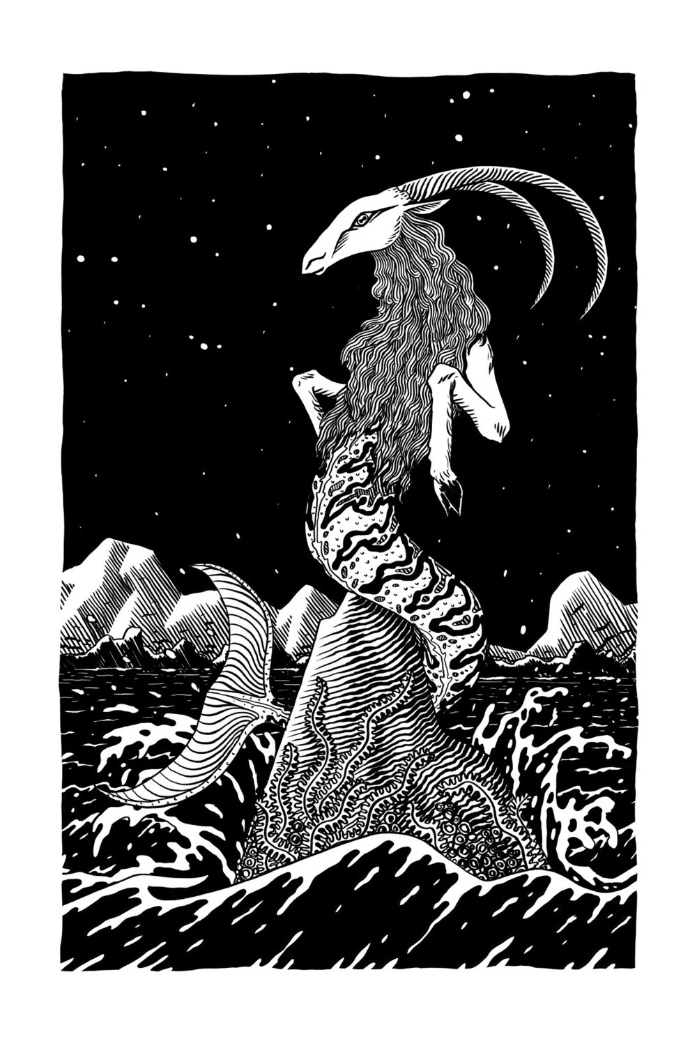 Capricorn by Alejandro Cardenas, from our book The Stars Within You. Prints available for purchase here:  etherealculture.com/shop