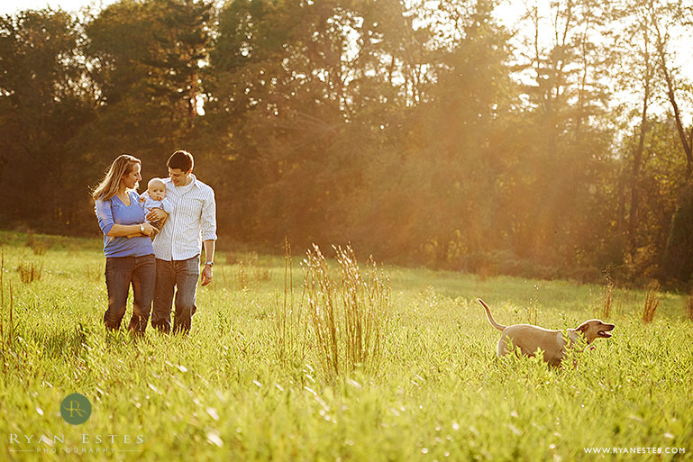 family portrait with dog at tyler state park, bucks county, pa