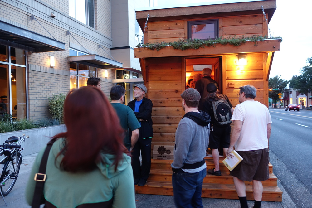 tiny house tour in front of theater