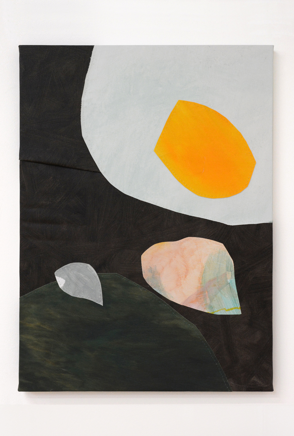 Eggscape , oil and thread on canvas, 56 x 76 cm, 2016  .
