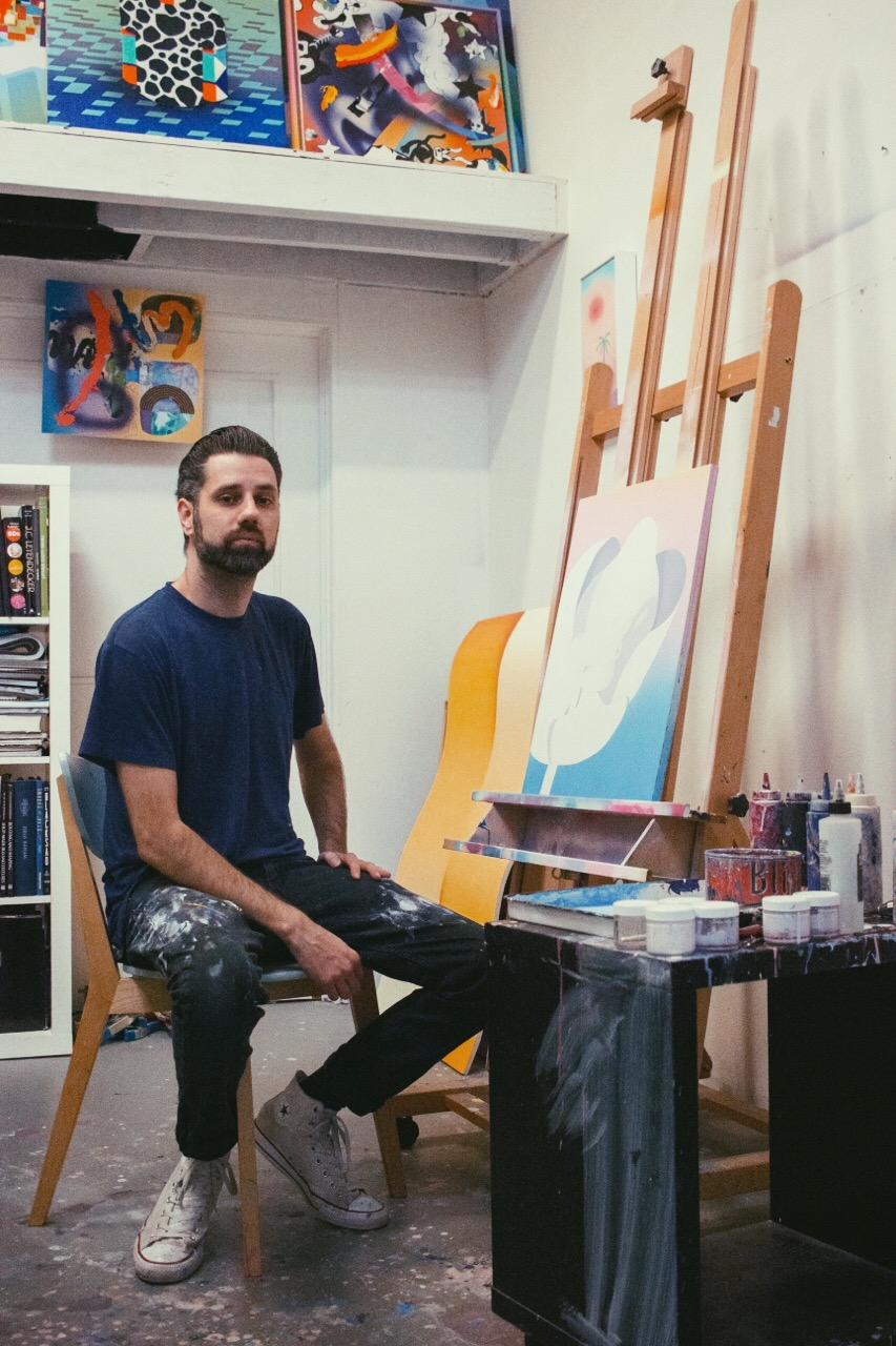 ARTIST MAXWELL MCMASTER IN HIS LOS ANGELES STUDIO.