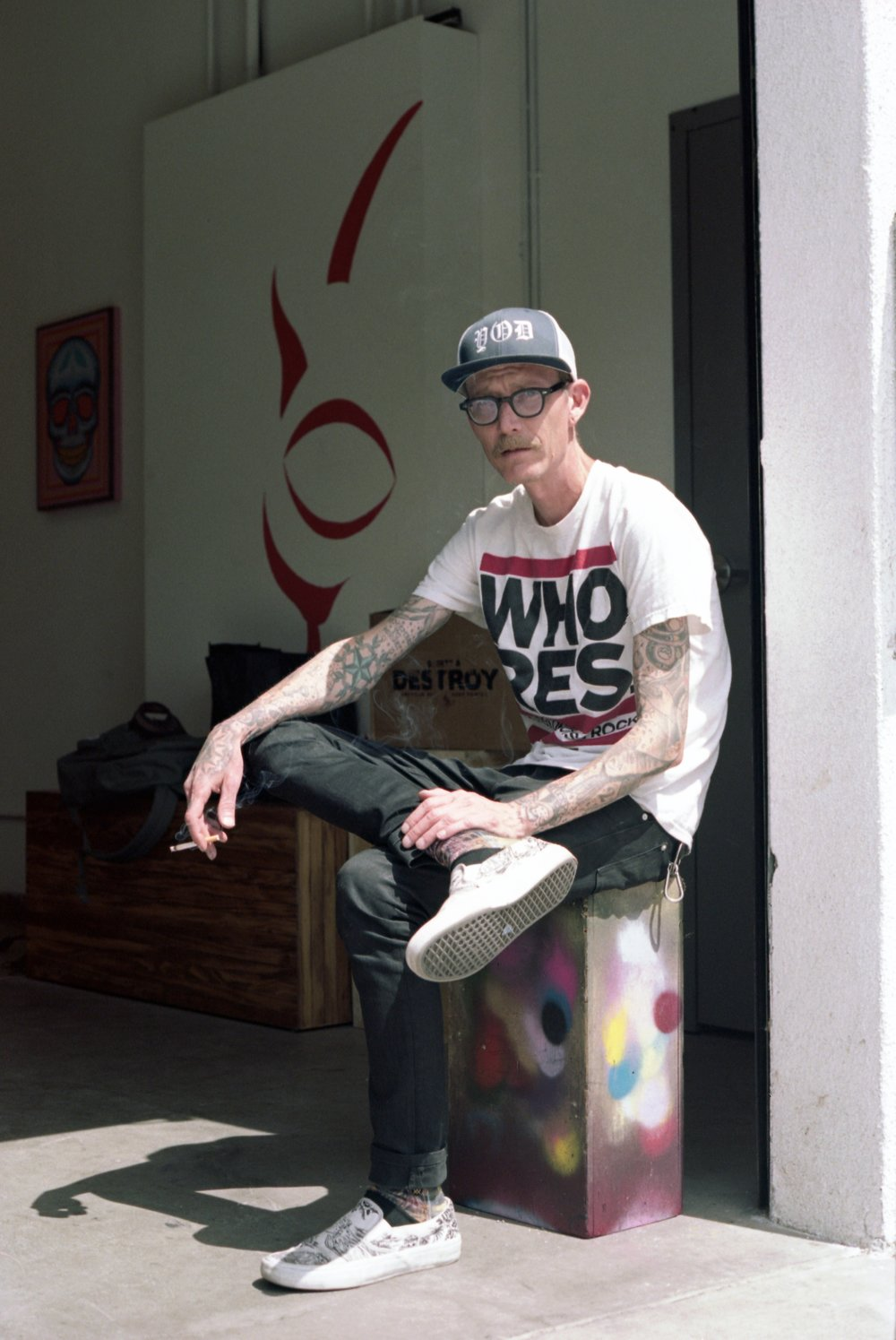 ARTIST DAVID COOK IN HIS LOS ANGELES STUDIO.