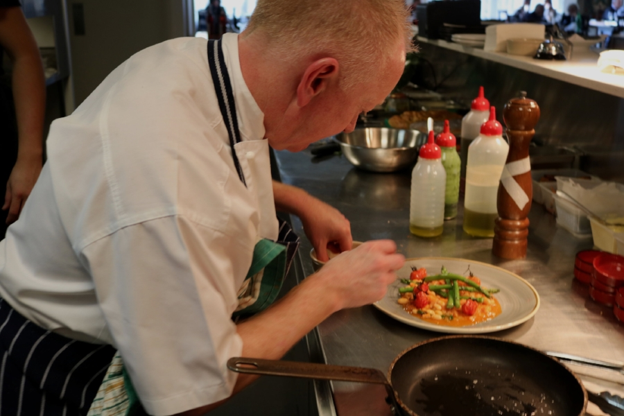 Our head chef Glenn Plating food from Sydney's Only Market Restaurant
