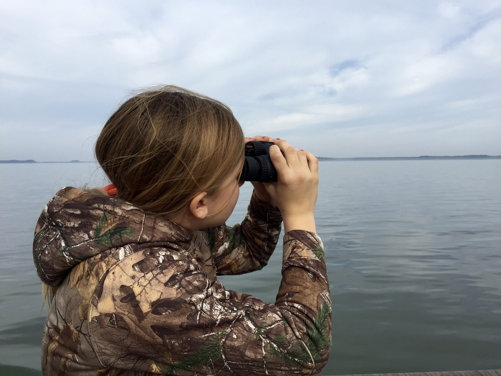 Identifying waterfowl Sunday morning.