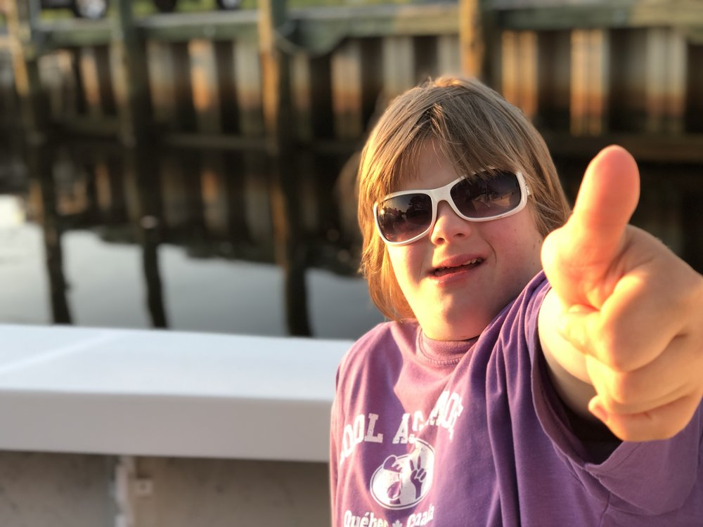 Sarah giving her thumbs up!