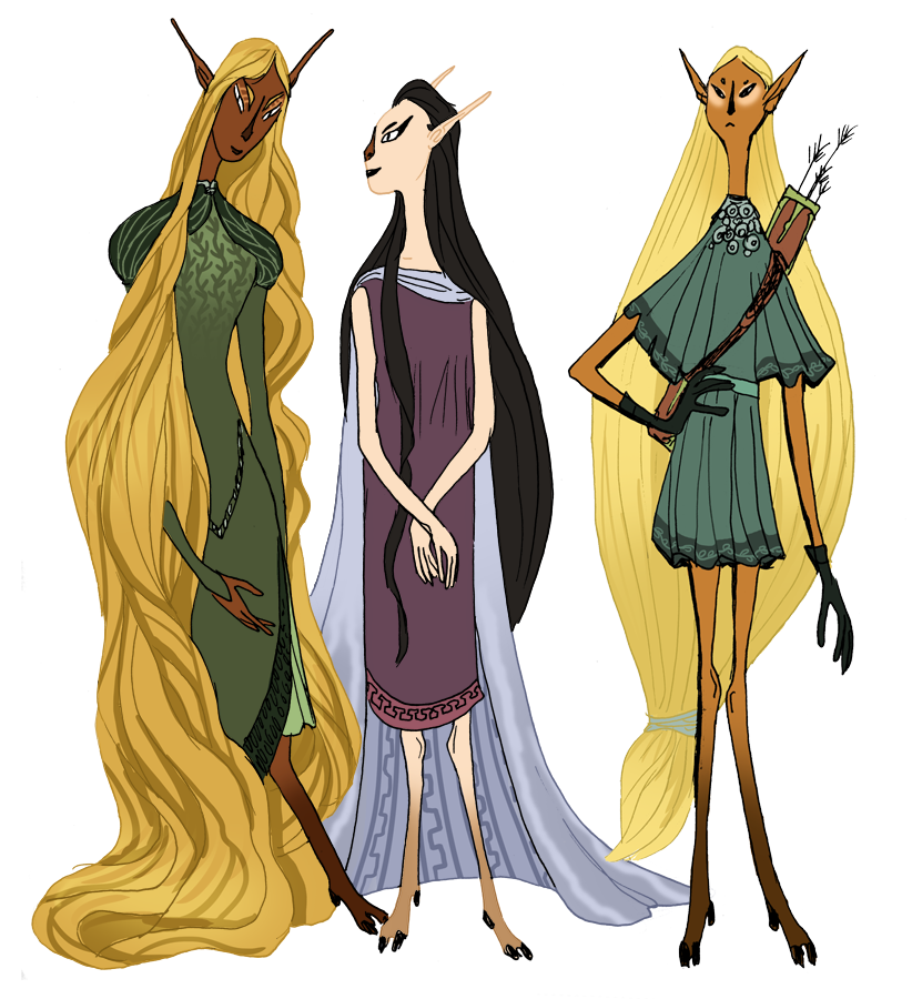 Redesign of Tolkien elves (L-R: Galadriel, Arwen, Legolas) as a less humanoid species