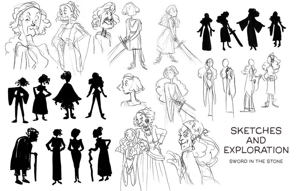 Character exploration for an animated TV series adaptation of The Sword in the Stone