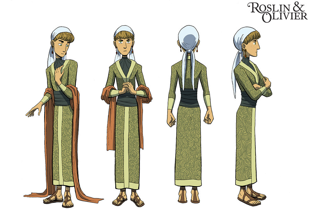 Turnaround of my main character from my graphic novel project, Roslin and Olivier