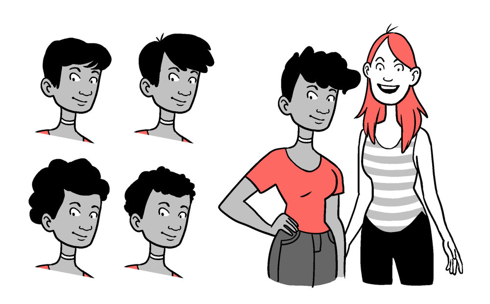 Character exploration for a millennial-themed comic strip