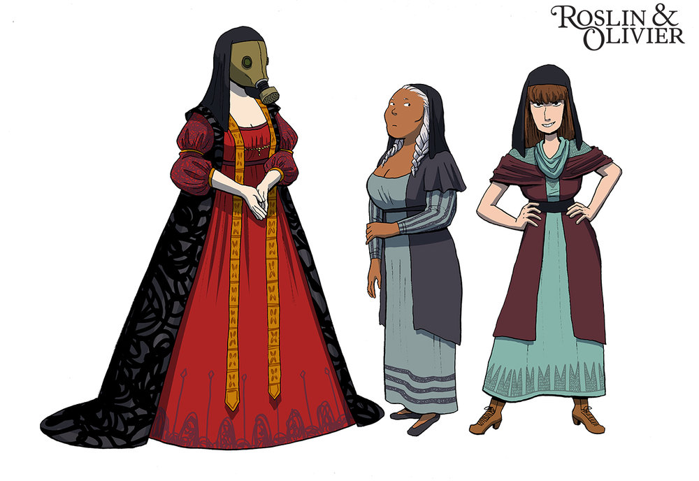 Cast of characters from my graphic novel project, Roslin and Olivier