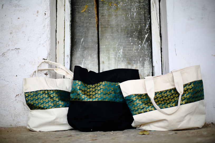 Forest Green Striped Totes from Vintage Indian Textiles | Made With a Purpose