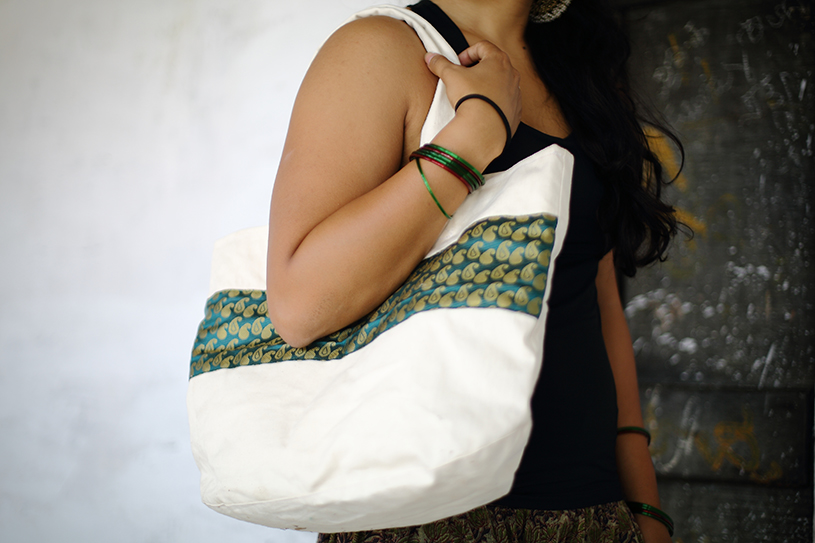 Forest Green Stripe Tote from Vintage Indian Textiles | Made With a Purpose