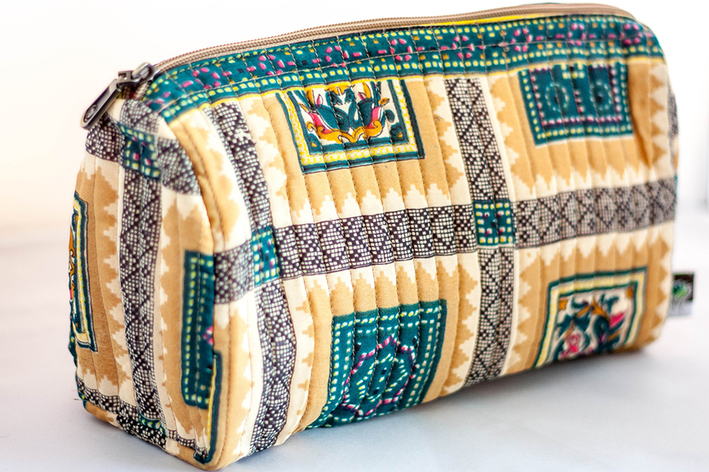 Teal and Yellow Quilted Travel Case from Vintage Indian Textiles | Made With a Purpose