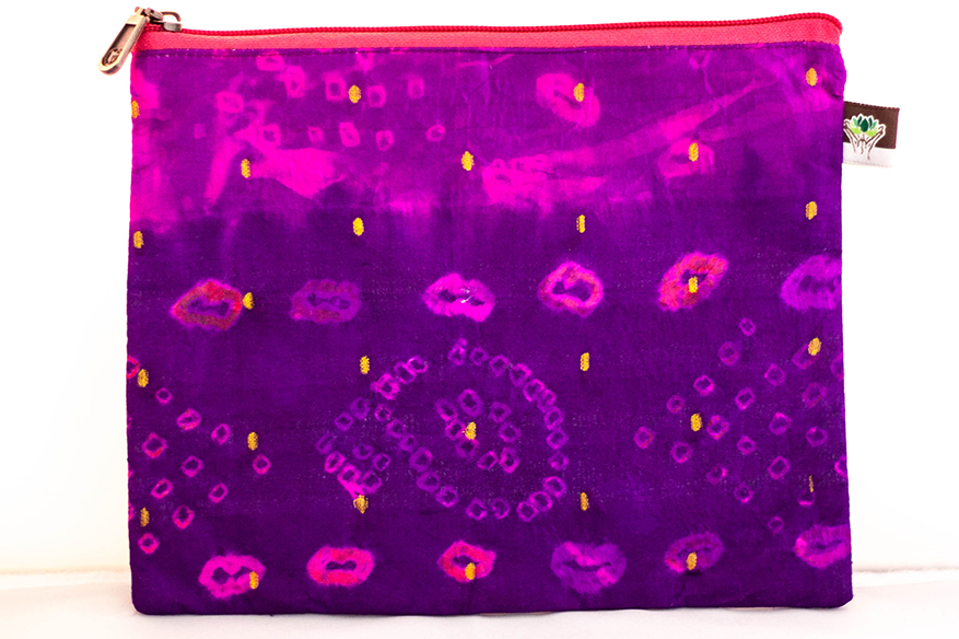 "Fushchia/Purpose ""Bandhani"" Tie Dye Wallet from Vintage Indian Sari 