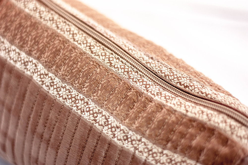 Blush Quilted Travel Case (Close-up) from Vintage Indian Textiles | Made With a Purpose