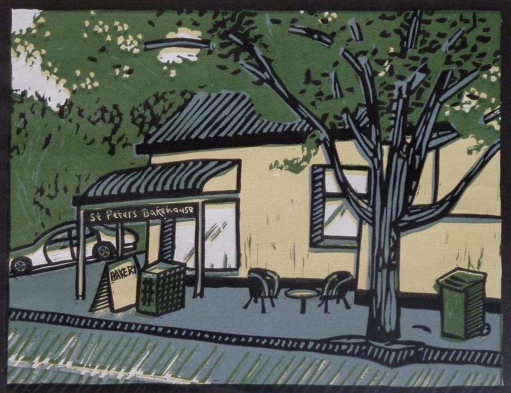 St Peters Bakehouse   Reduction linocut, 2011  Edition of 4  Image size: 25.5 cm x 19.5 cm  Paper size: 29 cm x 33 cm  SOLD OUT