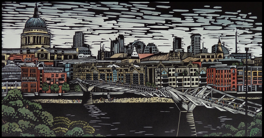 "London City: Across the Millennium Bridge   Hand coloured linocut, 2014  Edition of 4  Image size: 46 cm x 86 cm  Paper size: 70 cm x 100 cm  $600                      Normal   0           false   false   false     EN-AU   JA   X-NONE                                                                                                                                                                                                                                                                                                                                                                            /* Style Definitions */ table.MsoNormalTable 	{mso-style-name:""Table Normal""; 	mso-tstyle-rowband-size:0; 	mso-tstyle-colband-size:0; 	mso-style-noshow:yes; 	mso-style-priority:99; 	mso-style-parent:""""; 	mso-padding-alt:0cm 5.4pt 0cm 5.4pt; 	mso-para-margin:0cm; 	mso-para-margin-bottom:.0001pt; 	mso-pagination:widow-orphan; 	font-size:10.0pt; 	font-family:""Times New Roman"";}          London City: Across the Millennium Bridge    reflects the history and complexity of the City of London. The Thames continues to flow through even as new structures are added: a constant in an ever evolving cityscape."