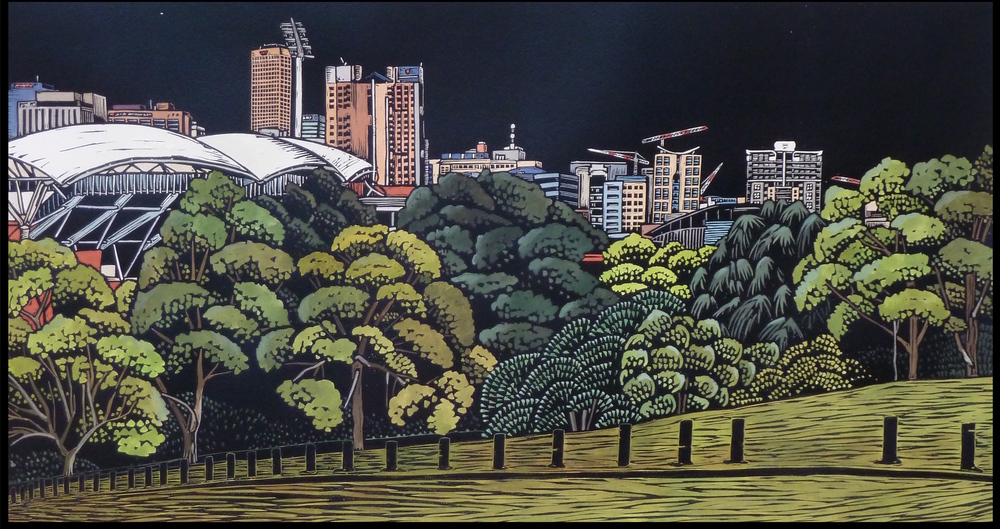 "Adelaide City and the Park Lands: Colonel Light's Vision   Hand coloured linocut, 2013  Edition of 4  Image size: 46 cm x 86 cm  Paper size: 70 cm x 100 cm  $600                      Normal   0           false   false   false     EN-US   JA   X-NONE                                                                                                                                                                                                                                                                                                                                                                               /* Style Definitions */ table.MsoNormalTable 	{mso-style-name:""Table Normal""; 	mso-tstyle-rowband-size:0; 	mso-tstyle-colband-size:0; 	mso-style-noshow:yes; 	mso-style-priority:99; 	mso-style-parent:""""; 	mso-padding-alt:0cm 5.4pt 0cm 5.4pt; 	mso-para-margin:0cm; 	mso-para-margin-bottom:.0001pt; 	mso-pagination:widow-orphan; 	font-size:12.0pt; 	font-family:Cambria; 	mso-ascii-font-family:Cambria; 	mso-ascii-theme-font:minor-latin; 	mso-hansi-font-family:Cambria; 	mso-hansi-theme-font:minor-latin; 	mso-ansi-language:EN-US;}          Adelaide City and the Park Lands: Colonel Light's Vision    explores the spirit of Adelaide and the surrounding Park Lands. The piece reflects the complexity and uniqueness of the city; what is old and new, natural and man-made. As new buildings are constructed and old ones deconstructed, the Park Lands remain: a constant encircling a continuously evolving cityscape."