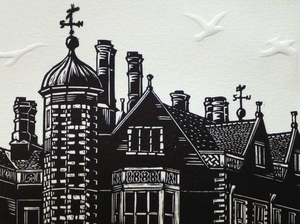 Charlecote Park   Linocut with embossing, 2014  Edition of 8  Image size: 15 cm x 20 cm  Paper size: 30 cm x 34 cm  $100