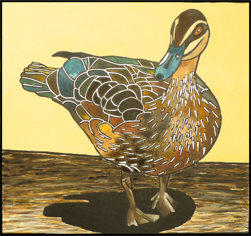 Pacific Black Duck   Hand coloured linocut, 2009  Edition of 5  Image size: 23.5 cm x 25.5 cm  Paper size: 54 cm x 38 cm  SOLD OUT