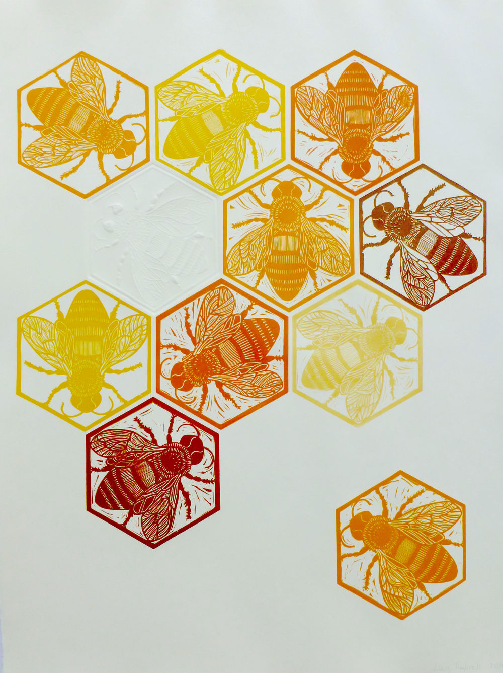 Hive   Linocut with embossing, 2016  Edition of 10  Paper size: 76 cm x 56 cm  $300