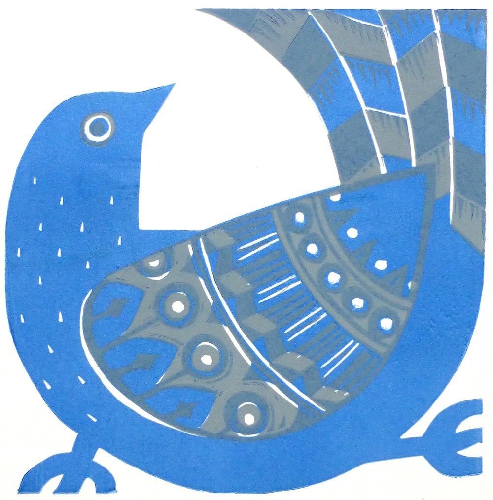 Blue Bird   Linocut, 2016  Edition of 6  Image size: 16 cm x 16 cm  Paper size: 23.5 cm x 21 cm  $60