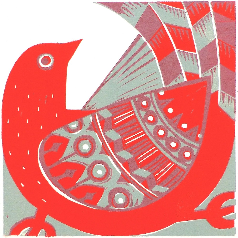 Red Bird   Linocut, 2015  Edition of 8 (irregular)  Image size: 16 cm x 16 cm  Paper size: 26.5 cm x 23.5 cm  $60