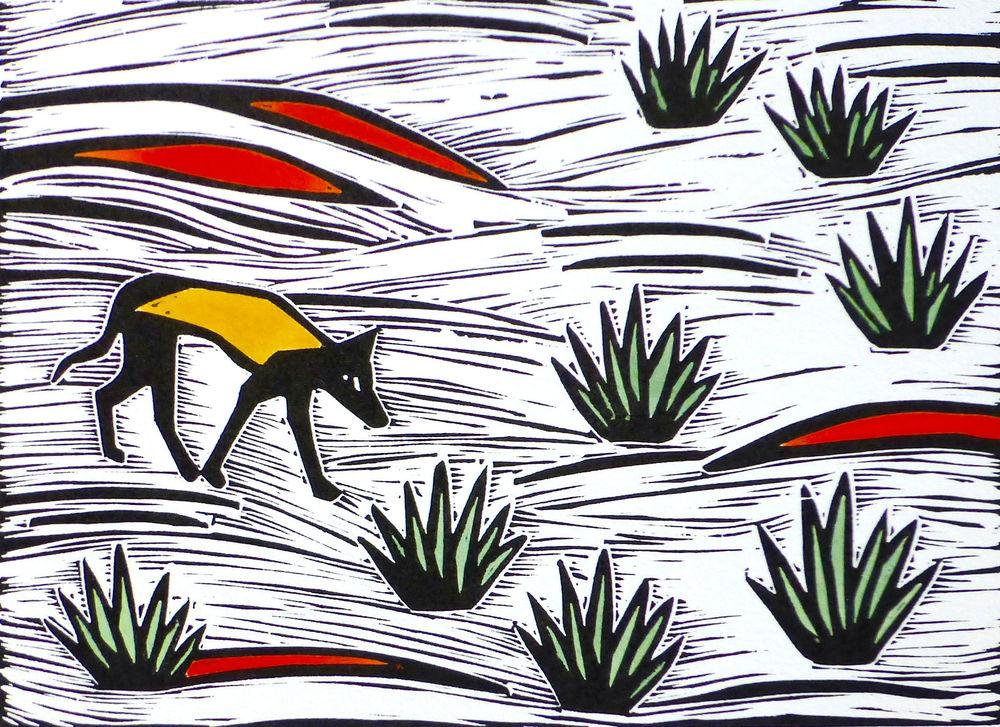 Desert Dingo   Hand coloured linocut, 2015  Edition of 20  Image size: 14.5 cm x 20.5 cm  Paper size: 33 cm x 35.5 cm  $65