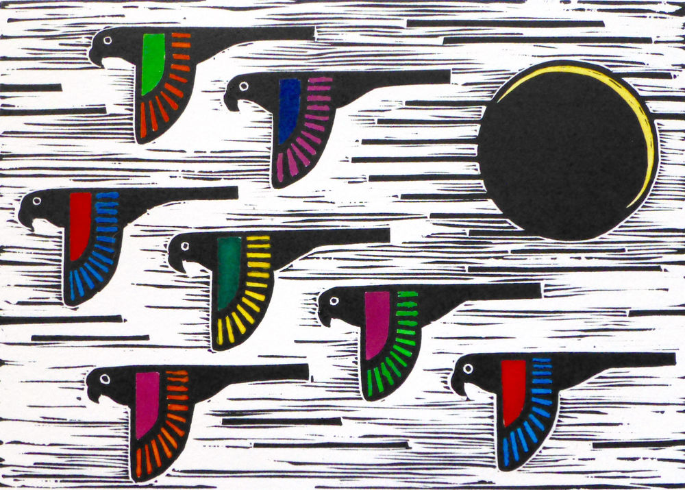 Flock II   Hand coloured linocut, 2015  Edition of 20  Image size: 14.5 cm x 20.5 cm  Paper size: 33 cm x 35.5 cm  $65