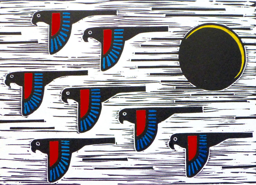 Flock   Hand coloured linocut, 2015  Edition of 20  Image size: 14.5 cm x 20.5 cm  Paper size: 33 cm x 35.5 cm  $65
