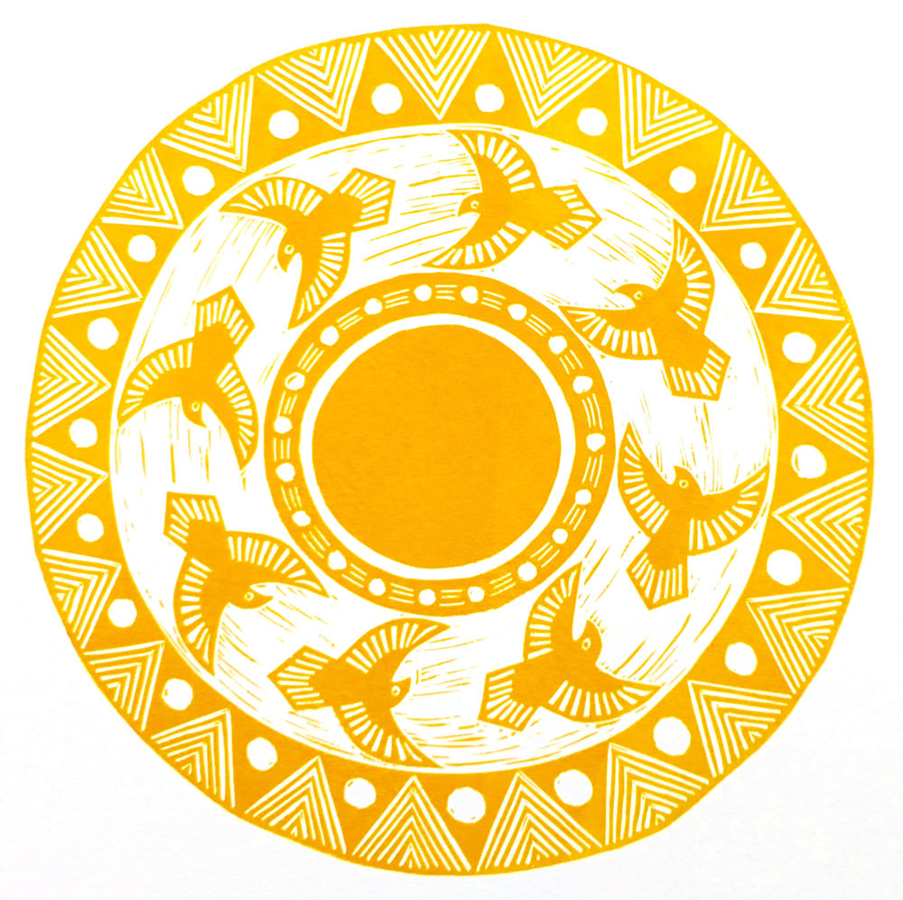 There is an old legend that the eagle alone among animals can look into the sun  Linocut, 2015  Edition of 4  Image size: 23 cm circle  Paper size: 42 cm x 29 cm  $70
